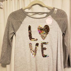 NWT love reversable sequins